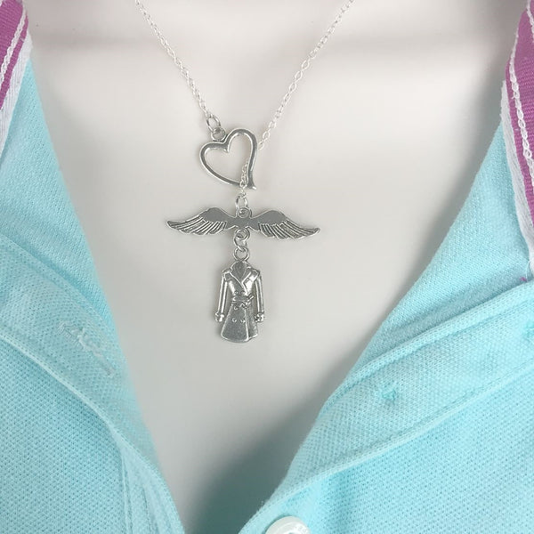 Castiel's Angel Wings and Trench Coat Handcrafted Necklace Lariat Style.