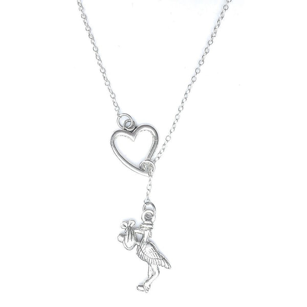I Love Stork with Baby Lariat Y Necklace.