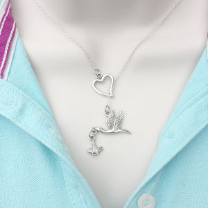 I Love Stork Carrying Baby Lariat Y Necklace.