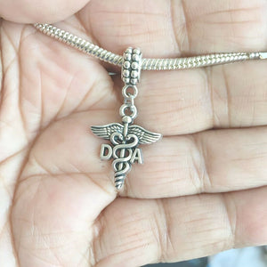 DA Dental Assistant Caduceus Silver Bead For Charm Bracelets