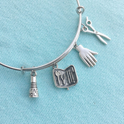 Cosmetology Nail Tech Silver Adjustable Bangle Bracelet.