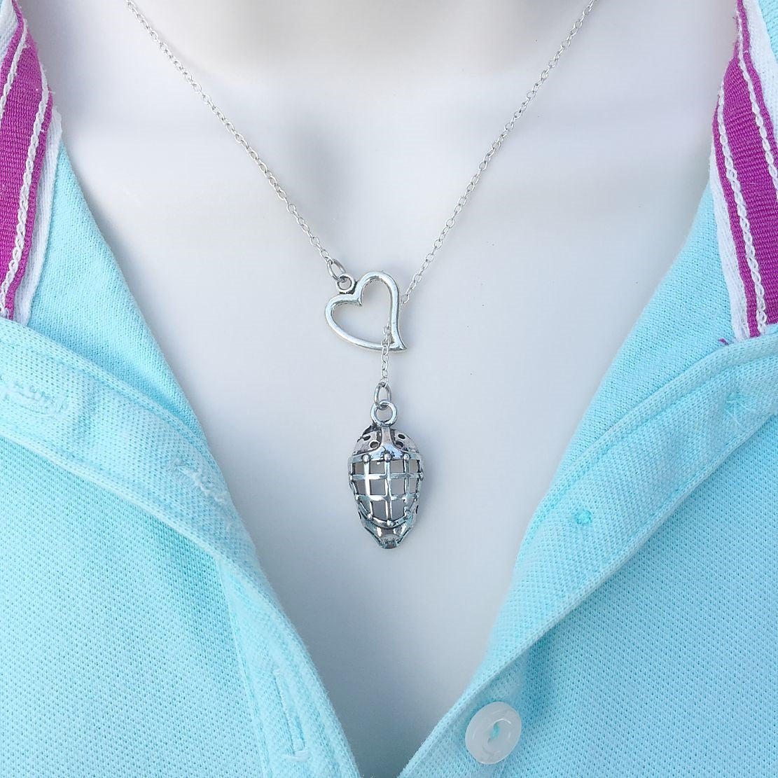 I Love Ice Hockey Silver Mask Lariat Y Necklace.