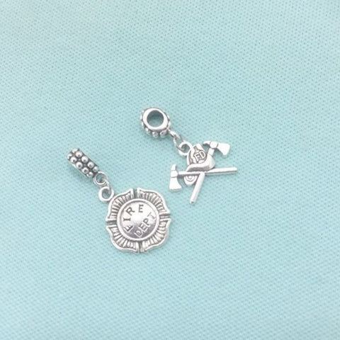 Firefighter Bracelet Charms : Fireman Logo and  Axes and Hat.