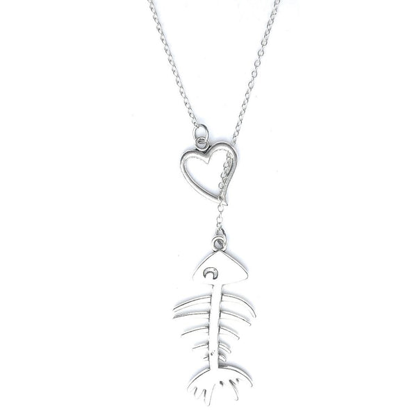 I Love Bone fish Lariat Style Y Necklace.