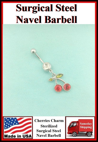 Cherries Silver Charm Surgical Steel Belly Ring.
