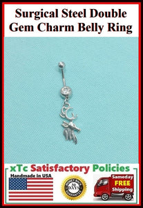 Surgical Steel Double Gems Belly Ring with Dear Head Charm.