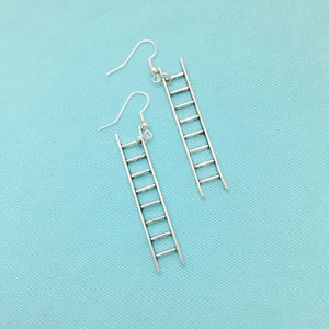 "Beautiful FIREFIGHTERS 2"" Ladder Silver Dangle Earrings."