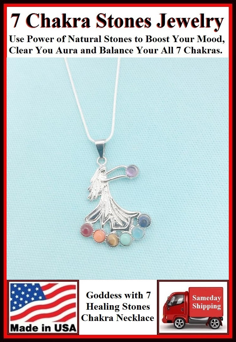 "Chakra Stones on GODDESS CHARM with 18"" & 24"" Necklace."