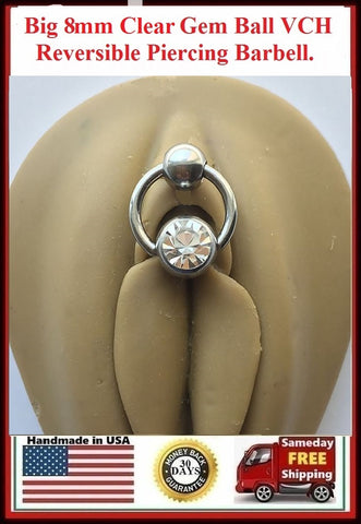 Big n Heavy 8 mm Clear Gem Captive Ball Reversible VCH Door Knocker.