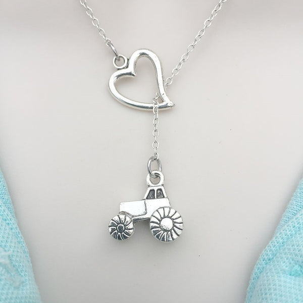 I Love 2 B A Farm Girl, Tractor Lariat Style Y Necklace.