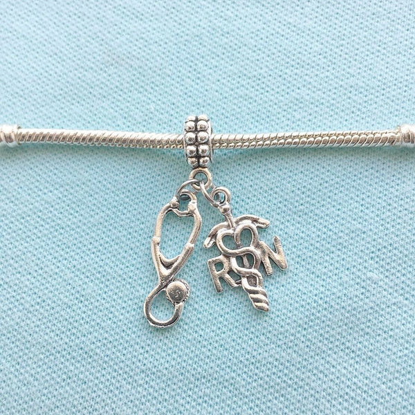 RN Caduceus & Stethoscope Silver Bead For Charm Bracelets