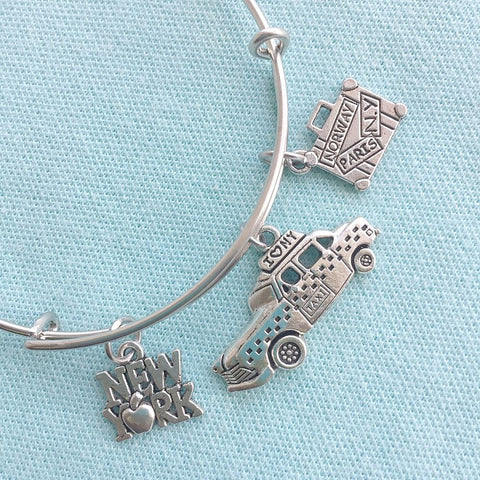 NY Taxi Cab & 2 Charms Silver Adjustable Bangle Bracelet.