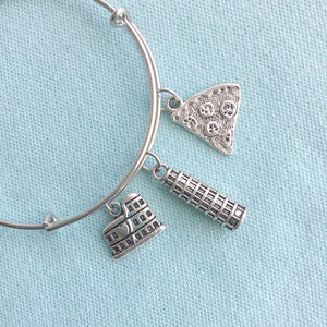 Pisa Tower & 2 Charms Silver Adjustable Bangle Bracelet.