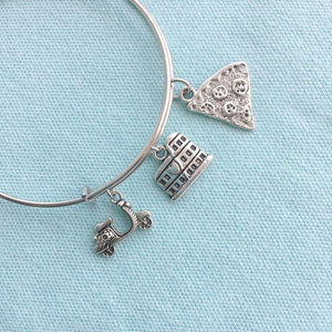 Rome Colosseum & 2 Charms Silver Adjustable Bangle Bracelet.