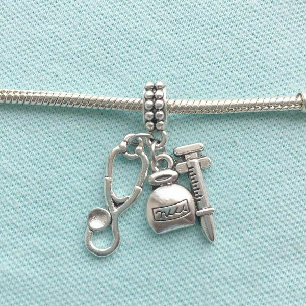 Medic Bottle & Stethoscope Silver Bead For Charm Bracelets