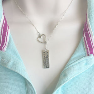 """Strong is Beautiful"" Quote Silver Lariat Y Necklace."