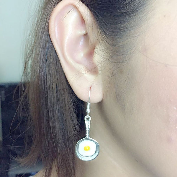 Cook's Fry Pan with Egg Handcrafted Silver Dangle Earrings.