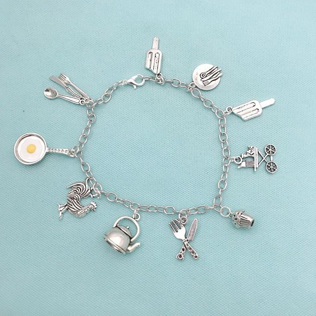 Stunning Cooking Charms Stainless Steel Bracelet.