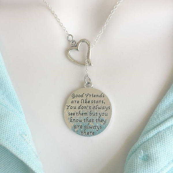 """Friends are like Stars"" Quote Silver Lariat Y Necklace."