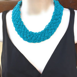 Beautiful Blue Color Multiple Bead Stings Statement or Bib Choker.