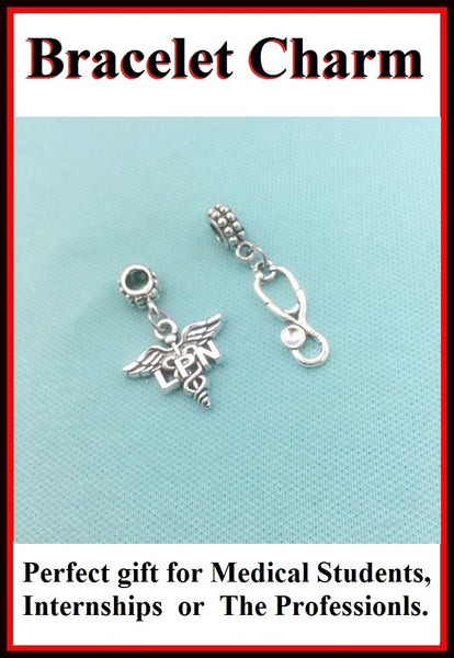 Medical Bracelet Charms : Licensed Practitioner Nurse and Stethoscope.