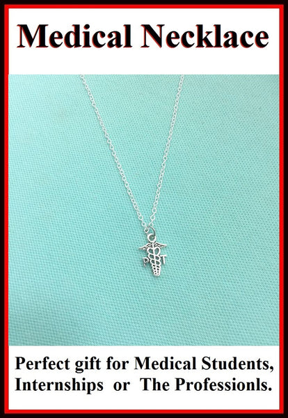 Physical Therapist (PT) Caduceus Silver Charm Necklace,