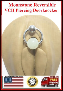 African Moonstone Door Knocker VCH Piercing Barbell.