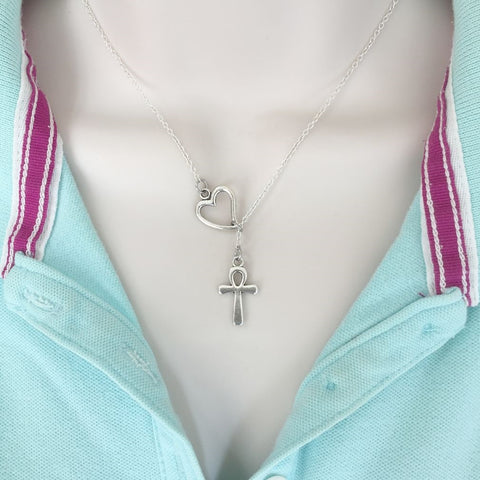 Egyptian ANKH Symbol Silver Lariat Y Necklace.