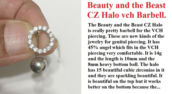Beauty and the Beast CZ Halo VCH Piercing Barbell.