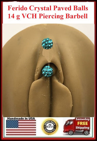 Ferido Crystal Paved Blue Color VCH Piercing Barbell.