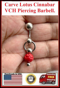 Carved LOTUS Flower Cinnabar 14g Door Knocker VCH Barbell.