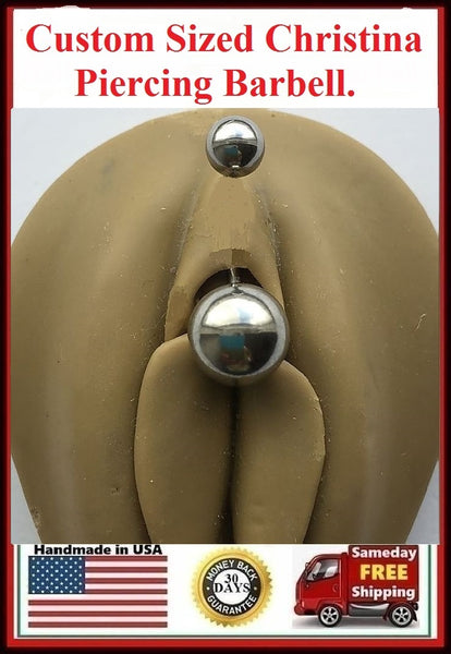 CUSTOM SIZED 14 gauge Christina Piercing Barbell.