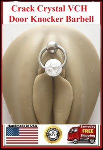 Crack Crystal Reversible Door Knocker VCH Piercing Barbell.
