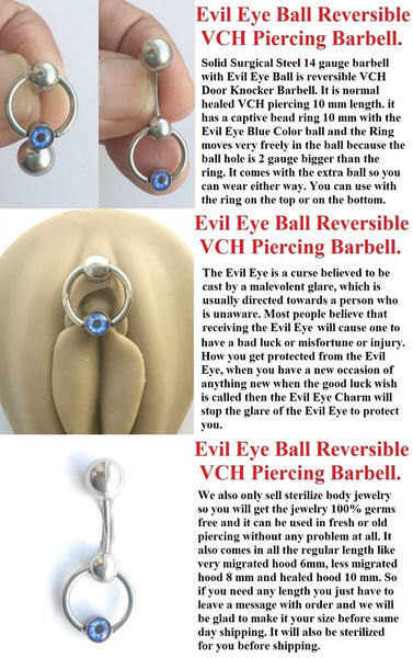 EVIL EYE Ball Door Knocker VCH Reversible Piercing Barbell.