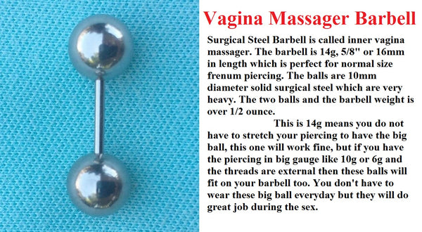 Sterilized Surgical Steel 14g w 10mm Balls Frenum Barbell or Vagina Massager.