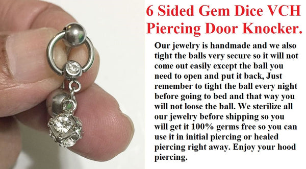 Beautiful 6 Sided Gem Dice Door Knocker VCH Piercing Barbell.