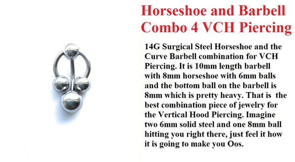 Surgical Steel HORSESHOE & BARBELL COMBO for VCH Piercing.