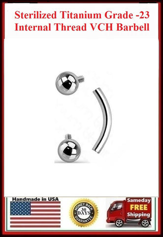 Sterilized Titanium Grade-23 INTERNALLY THREADED 5mm Balls VCH Barbell.