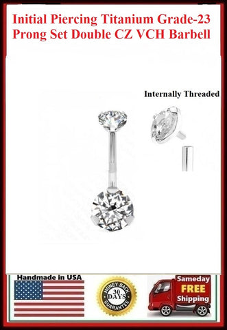 For Initial Piercing Titanium Grade-23 INTERNALLY THREADED Prong Set CZ VCH Barbell.