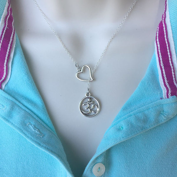 I Love Om Yoga Handcrafted Necklace Lariat Y Style.