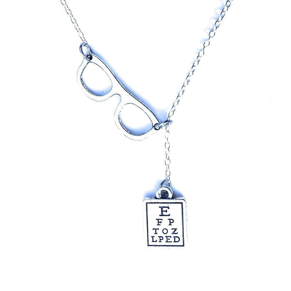 Optician, Ophthalmologist Glasses and Eye Chart Necklace Lariat Style.