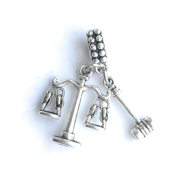 "Attorney Lawyer Judge "" GAVEL n SCALE"" Silver Bead For Charm Bracelets"