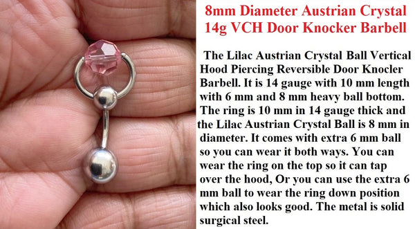 Lilac Austrian Crystal Door Knocker VCH Piercing Barbell.