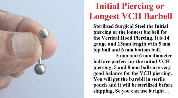 Sterilized Surgical Steel INITIAL or LONGEST VCH Piercing Barbell.