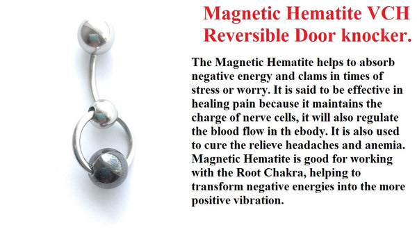 Magnetic Hematite Stone Reversible VCH Door Knocker with Heavy Ball for Extra Pressure.