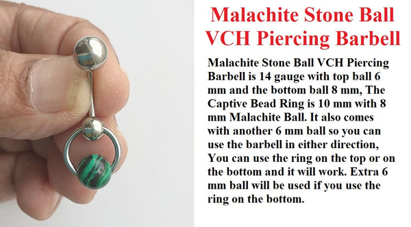 Malachite Stone Door Knocker VCH Piercing Barbell.