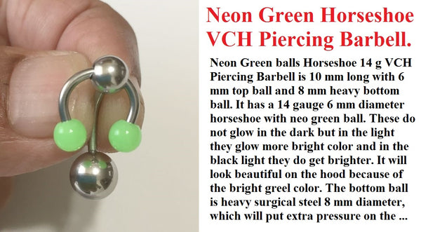 Neon Green Horseshoe with Heavy Ball VCH Barbell for Extra Pressure.