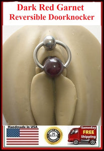 Dark Red Garnet DOOR KNOCKER for Vertical Hood Piercing.