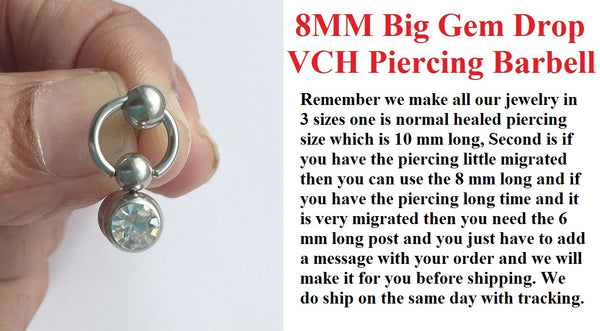 Sterilized Surgical Steel 8 mm GEM DROP VCH BARBELL.