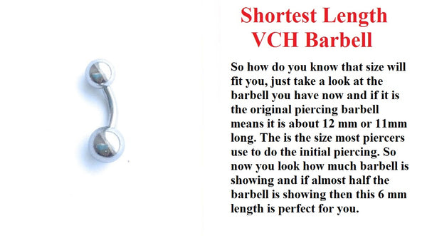 Sterilized Surgical Steel SHORTEST VCH Piercing Barbell.